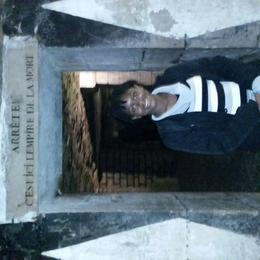 Summer-Gale, at the entrance to the Catacombs ossuaries. She sooo wanted to do this tour (crazy 13-yr old with no fear!) :-) , LisaMarie - November 2014