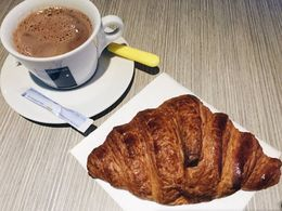 Hot chocolate and croissant in Mont Louis , Kelly K - January 2016