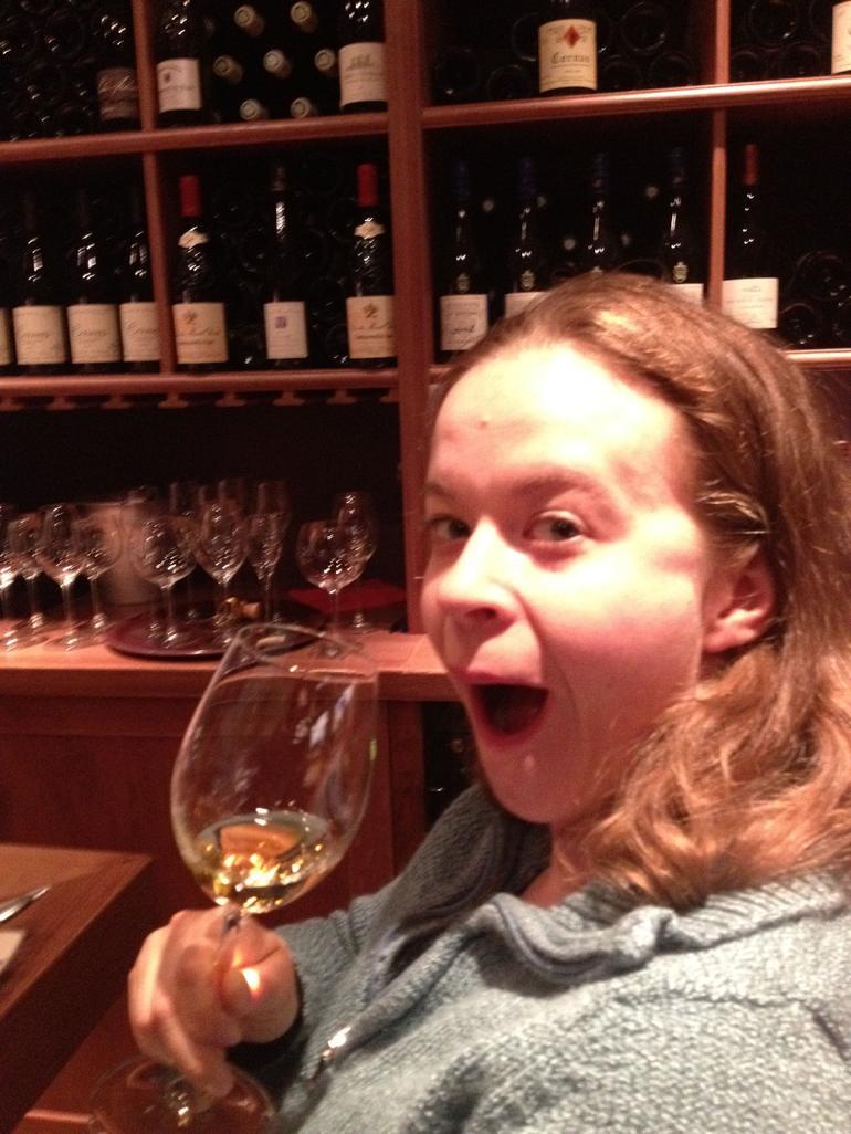 My friend enjoying her wine - Paris