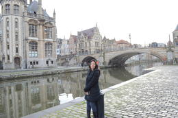 My Wife exploring the canal side view of Bruges! , Joydeep Das - December 2012