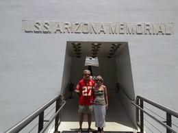 This photo was entered in the City of Kansas City employee newsletter vacation photo contest. The only rule was that we had to wear something promoting Kansas City. I wore a KC Chiefs football..., Donald M - August 2014