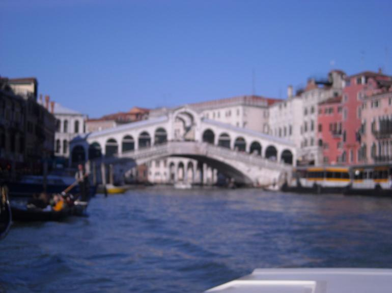View of the Rialto Bridge from the water taxi. - Venice