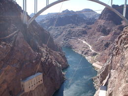 Hoover Dam outlet and bridge over very windy! , D G M - January 2017
