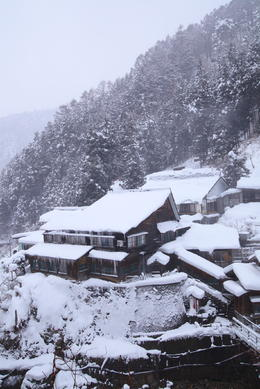 Snow is surrounding a traditional ryokan in a mountain side of Nagano - May 2013