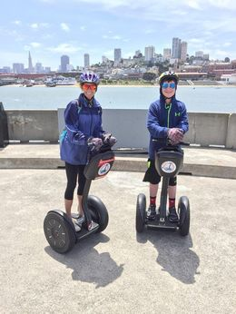 My son and I t Aquatic Park in San Francisco. The city skyline is behind us, and we are looking at Alcatraz in the distance. AWESOME view! I never would have seen this had we not done the Segway..., Jennifer K - June 2016