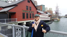 Boni R. getting ready to go into Boston Tea Party for Fun! , Boni R - November 2015