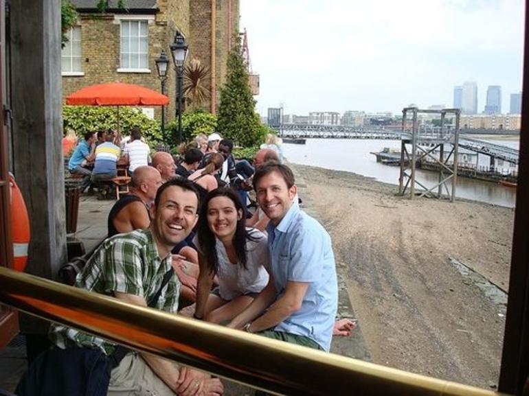 Enjoying a pint on tour! - London