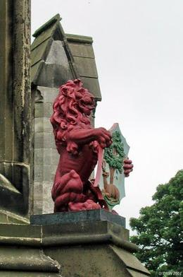 Closeup of lions holding crests on the fountain. , Bruce - June 2011