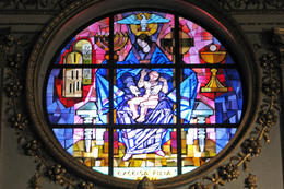Beautiful, massive stained glass window at Santa Maria Maggione , Joe M - April 2012