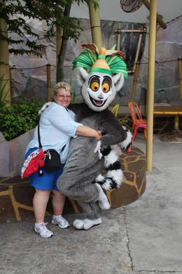 This is me gatting a cuddle with King Julian from the Madagascar land. , sem65 - January 2013