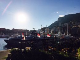 Monaco ... View from a place to eat near the first stop and bateau bus , Bev Chislett - January 2016