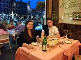 My daughter and partner enjoying 'aperitivo' after the Friday evening Uffizi Gallery tour. , Sara B - August 2014