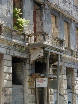 Dangerous war ruins still standing in Mostar. - October 2007
