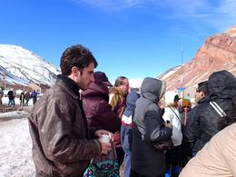 Tour group listening to guide at Puente del Inca , Cristina S - July 2013