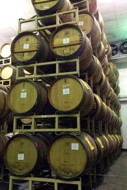 Barrels of wine, Jules & Brock - July 2012