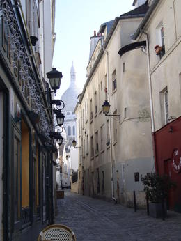 View of the Sacre Coeur down a narrow street in Montmartre, Emily - March 2013