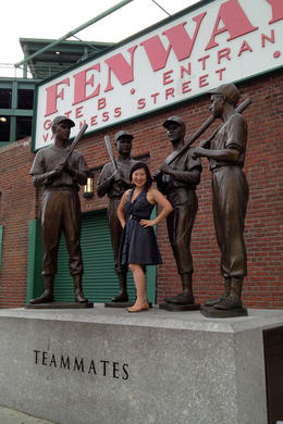Jules posing at Fenway Park, Jules & Brock - July 2012