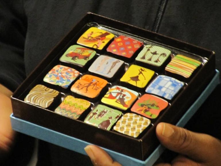 Individually painted chocolates at Twig - Boston