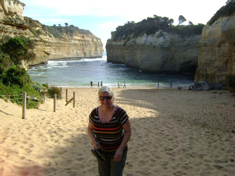 Janice at Loch Ard Gorge near 12 apostles - Melbourne