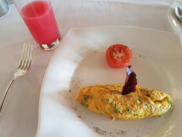 Food served at the resort was lovely. You have a nice selection to choose from. Here is a photo of an egg omelette and watermelon juice. , Saphire - August 2016