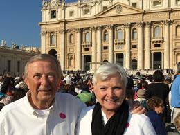 My husband and I at St Peters waiting for the arrival of the Pope of his Audience on 27 Sep 2016 , Robert L - October 2016