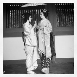Black and White photo of two beautiful Geisha. , Benjamin P - May 2015