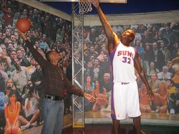 My fiance against Shaq at the wax museum, Jasmine .T - April 2009