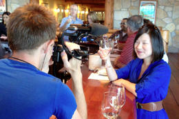Brock filming Jules as she tastes wine, Jules & Brock - July 2012