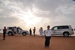 Sunset on the dunes with the vehicles which carried 7 in the background , Michael C - March 2017