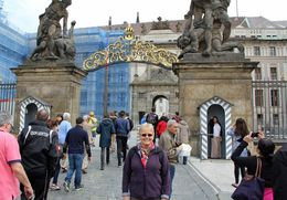 Linda is at the front gate of the castle. We toured the castle then walked down the hill visiting different sites along the way. A very comfortable tour. , Frank P - June 2015
