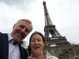 Happy after our lunch, off on to the cruise on the Seine River. , Ian - April 2014