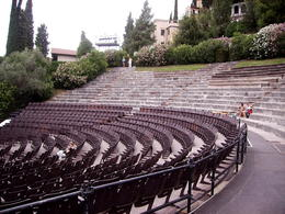 The old stone seating as been supplemented with modern seating for the upcoming performance. , rustyruth - June 2013