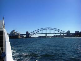 The view of the Sydney Opera House and the Harbour Bridge from the catamaran that provided a cruise and a buffet lunch. , Ken Mc - May 2013