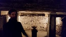 Calloway our tour guide, telling us about this particular ossuary in the Catacombs , LisaMarie - November 2014