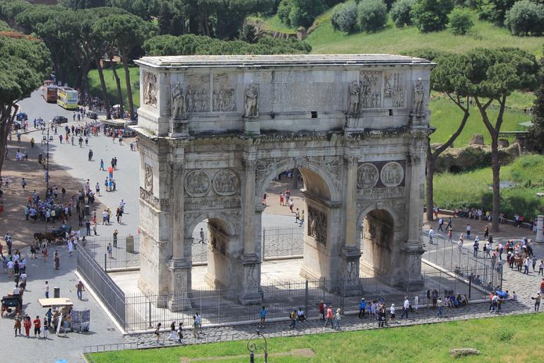 The Arch of Constantine from Level 3 Colosseum - Rome
