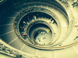 The old spiral stairs inside the Vatican Museums leading to the Sistine Chapel , kyledebono - June 2014