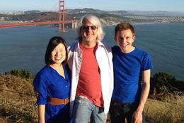 Stopped for a photo by Golden Gate Bridge, Jules & Brock - July 2012