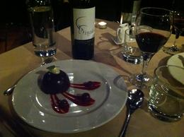 I don't recall what they called this, but it was a ball of smooth chocolate mousse and black cherry wonder! , meadora - June 2014