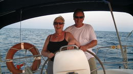 Gaye and Andy at the helm , Gaye D - September 2012