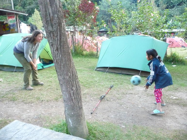 Playing some volleyball with a local girl - Cusco