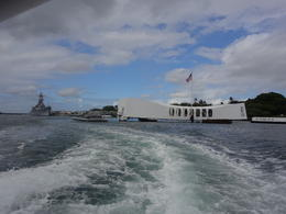 Looking back at the USS Arizona Memorial from the boat. , Therese M J - October 2016