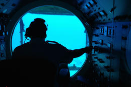 Inside the submarine, Jules & Brock - September 2012