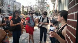 Talking to the group about food trends outside of The Mill, Emily G - August 2015