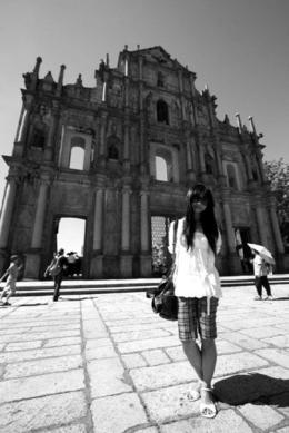Posing in front of the stone facade, Bing - June 2012