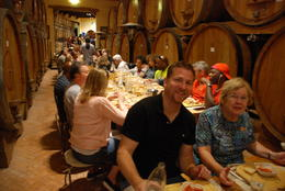 Tour group enjoying their three course meal in wine cellar. , Margaret K - June 2017