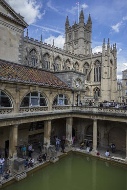 Roman Baths, constructed around 6 A.D., with Bath Abbey in the background. , Richard W - July 2014