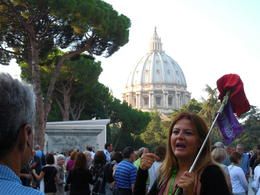 A picture of our guide as she prepares us for the start of our adventure through the Vatican Museums. , Maureen B - September 2014