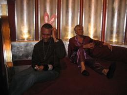 My finace with Mr. Playboy himself....not too sure how he got there. At the wax museum, Jasmine .T - April 2009