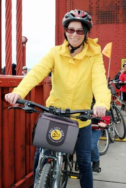 Cynthia on bike over Golden Gate Bridge , cynthiadotcom - September 2013