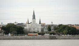 A street car in front of the St. Louis Cathedral in New Orleans. , Linda E - March 2014